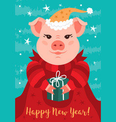 cartoon pig happy new year 2019 greeting card vector image