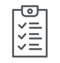 checklist line icon document and form report vector image