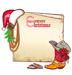 Christmas cowboy paper for text card background vector