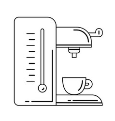 coffee maker with cup line icon vector image