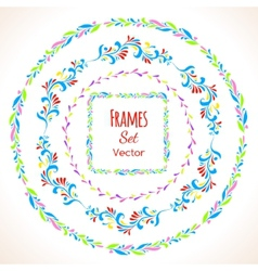 Color floral elements and frames set vector image