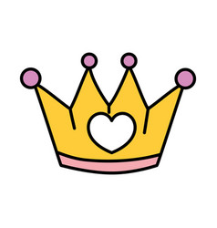 Color metal crown object with heart design vector