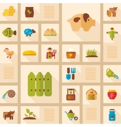 Colorful Farm Garden flat icon with long shadow vector image