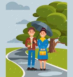 couple in love walking under umbrella in summer vector image