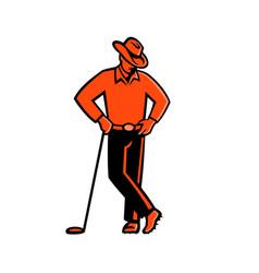 cowboy golfer leaning golf club mascot vector image