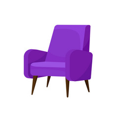 Cozy bright purple armchair with wooden legs vector