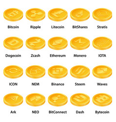 cryptocurrency types icons set isometric style vector image