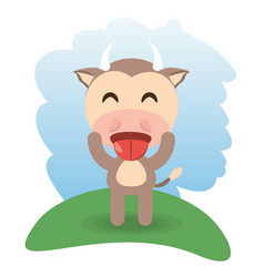 Cute bull animal winking vector