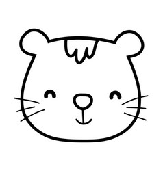 cute cat face cartoon animal feline vector image