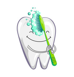 Cute happy smiling tooth with toothbrush and vector