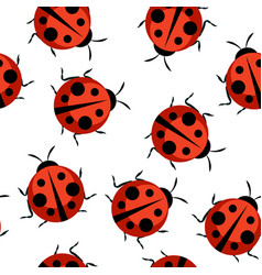 cute ladybug seamless pattern background vector image