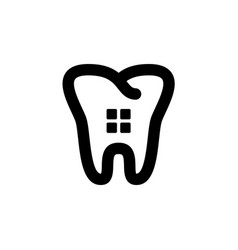 dental logo design template with flat line tooth vector image