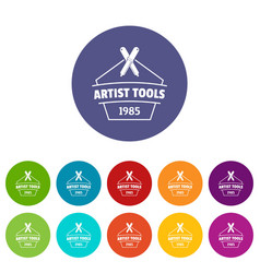 Designer tool icons set color vector