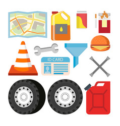 driver items set automobile objects vector image