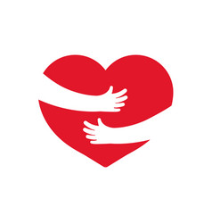 Embrace heart icon hug with heart with help vector