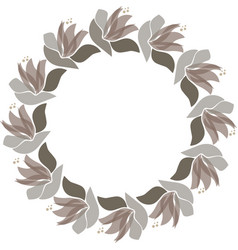 floral circle frame scandinavian style vector image