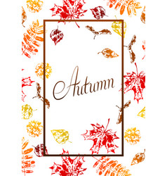 frame with printed leaves vector image