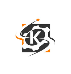 gear solution logo letter k vector image