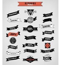 Guarantee and sale Labels ribbons vector
