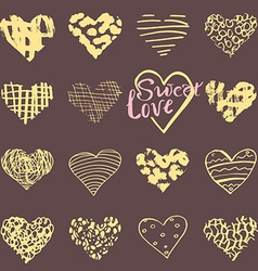 Hand drawn hearts symbols and lettering vector