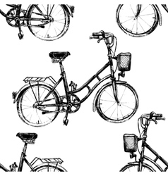 Hand drawn seamless pattern with bicycle vector