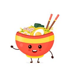 Happy cute smiling funny ramen bowl vector