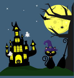 happy halloween halloween cat in a hat witch vector image
