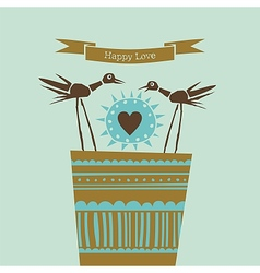 Happy love happy birds vector image