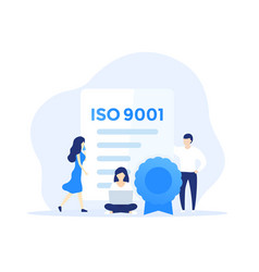 Iso 9001 certificate and people art vector