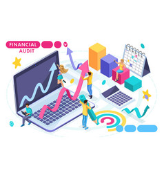 Isometric concept of audit accounting vector