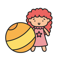 Kids toy yellow beach ball and cute doll vector