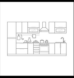 kitchen furniture in thin line vector image