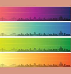 Kolkata multiple color gradient skyline banner vector