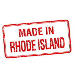 Made in rhode island red square isolated stamp vector
