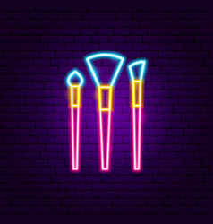 makeup brushes neon sign vector image