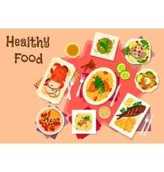 Meat dishes with seafood salad icon vector