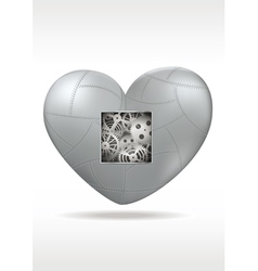 Mechanical heart with gears vector image
