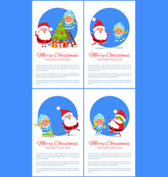 merry christmas set and text vector image