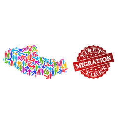 Migration collage of mosaic map of tibet and vector