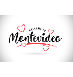 Montevideo welcome to word text with handwritten vector