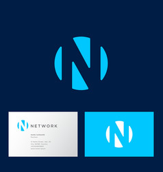 n letter circle logo blue web network vector image