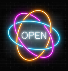 neon open 24 hours in circle frames like vector image