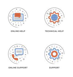 online help technical help online support set of vector image