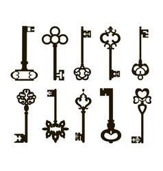 Ornamental medieval vintage keys vector image