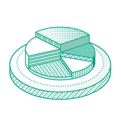 outline pie chart infographic element isometric vector image