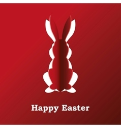 Paper rabbit on a red background vector