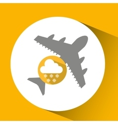Plane travel weather forecast cloud snow icon vector