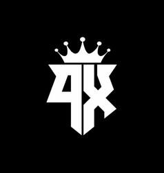 px logo monogram shield shape with crown design vector image