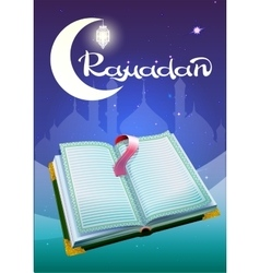 Ramadan and open book Koran vector image