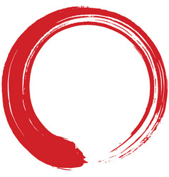 red enso zen circle brush vector image